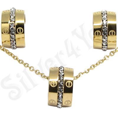Set colier si cercei inox aurit cu zirconii albe - LR263