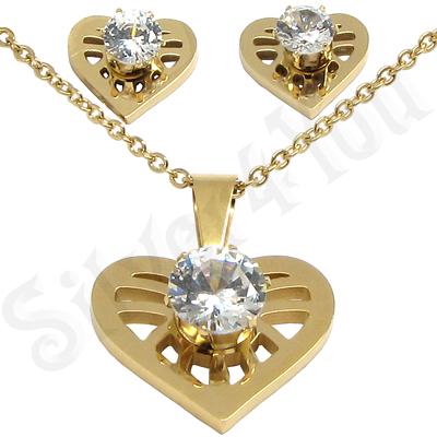 Set colier si cercei inox aurit cu inima cu zircon alb - LR265