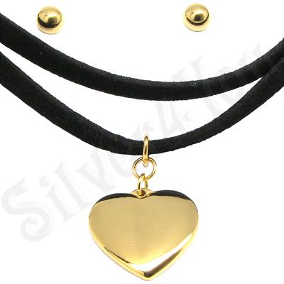Set colier catifea inima si cercei biluta - LR271