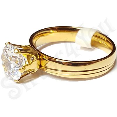 Inel inox aurit cu zircon alb - LR333