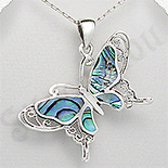 Pandantiv argint fluture abalone - PK2270