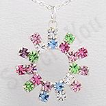 Pandantiv argint rotund cu cristale multicolore - PK2347
