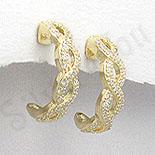 Cercei argint auriti cu zirconii albe - PK1187