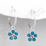 Cercei argint veriga cu floare albastra - PK2539