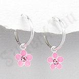 Cercei argint veriga cu floare roz - PK2540