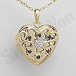 Pandantiv argint aurit si safir - PK3008