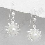 Cercei argint floare cu perla alba - PK1830
