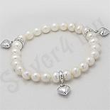 Bratara argint perle albe si inimi - PK2487