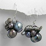 Cercei argint cu perle negre - PK1823