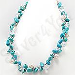 Colier turcuaz perle cristale albe - PK2320