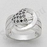Inel argint zircon negru aspect aur alb - PK1302