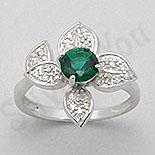 Inel argint cu zircon verde tip aur alb - PK1299