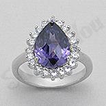 Inel argint lacrima zircon mov aspect aur alb - PK1378