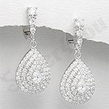 Cercei argint zirconi albe aspect aur alb nunta - PK1861