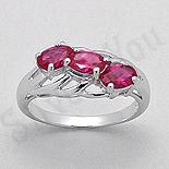 Inel argint logodna zirconii rosii aspect aur alb - PK2451