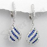 Cercei argint zircon albastru alb aspect aur alb lacrim - PK1870