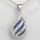 Pandantiv argint zircon alb si albastru picatura aspect - PK1955
