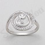 Inel argint logodna spirala zirconii albe aspect aur al - PK2038