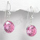 Cercei argint zirconi roz rotunzi - PK1846