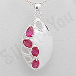 Pandantiv argint oval zirconii rosii lacrima - PK2443