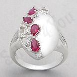 Inel argint oval zirconii rosii lacrima - PK2449