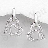 Cercei argint inima aspect aur alb zirconii albe - PK2384