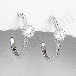 Cercei argint mici piatra alba zircon aspect aur alb - PK2466