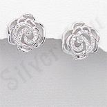Cercei argint floare trandafir aspect aur alb zirconii - PK2385