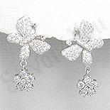 Cercei argint fluture aspect aur alb zirconii mici albe - PK2382