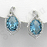 Cercei argint ovali aspect aur alb zirconii albastre al - PK2372