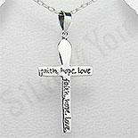 Pandantiv argint cruce cu mesaj - PK1243