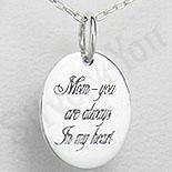 Pandantiv argint oval cu mesaj pentru mama - PK1254