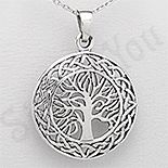 Pandantiv argint rotund copacul vietii - PK2527