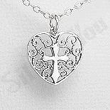 Pandantiv argint inima si cruce - PK3002