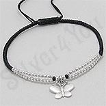Bratara neagra siret fluture si margele argint - PK2543