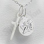 Pandantiv argint cruce si ingeras - PF4062