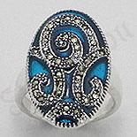 Inel argint marcasit model albastru - PK1290