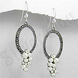 Cercei argint ovali cu marcasite - PK1159
