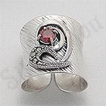 Inel argint lung marcasite piatra rosie zircon - PK2459