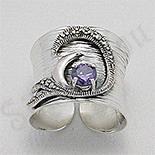 Inel argint lung marcasite piatra mov zircon - PK2461