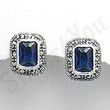Cercei argint albastri dreptunghiulari marcasite zircon - PK2349