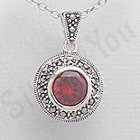 Pandantiv argint rosu rotund marcasite zirconii - PK2356
