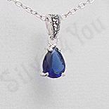 Pandantiv argint albastru lacrima marcasite zirconiu - PK2358