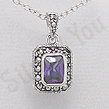 Pandantiv argint mov dreptunghiular marcasite zirconiu - PK2362