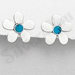Cercei argint floare turcuaz bleu - PK1905