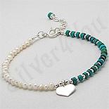 Bratara argint inima perle albe turcoaz verde - PK2403