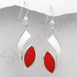 Cercei argint ovali rosii - PK1910