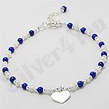 Bratara argint cu inima, perle albe si lapis lazuli - PK2408