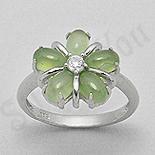 Inel argint floare pietre verzi serpentin zircon alb - PK2417
