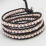 Bratara colier piele maro perle roz - PK2272
